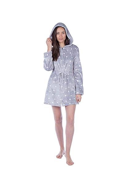 Bata de Vestir de Lujo para Mujer Masq Loungewear Angel Star con Cremallera Delantera y Capucha: Amazon.es: Ropa y accesorios