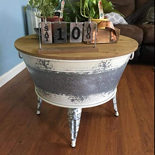 Amazon Com Lift Top Rustic Coffee Table Round Distressed Cocktail