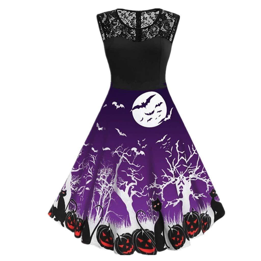 VEKDONE Women Halloween Dress Vintage Bat Pumpkin Printed Sleeveless Cocktail Party A-Line Dresses