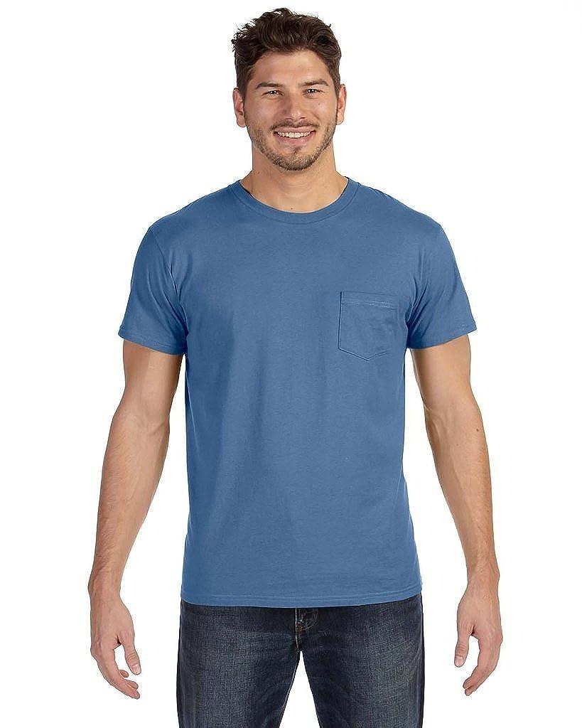 498P Hanes Mens Ringspun Cotton Nano-T T-Shirt with Pocket