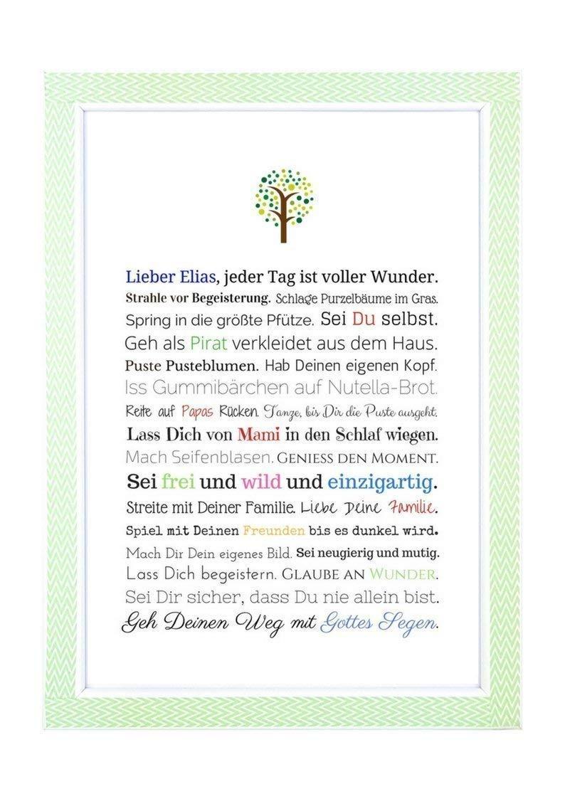Taufgeschenk Junge personalisiert | Taufbild als Geschenk zur Taufe für Jungen, Kunstdruck DIN A4 mit Bilderrahmen - Gastgeschenk Pate für Baby, Geschenke Patenkind