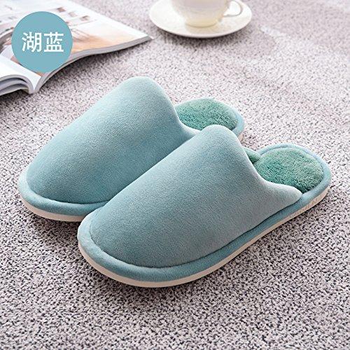 LaxBaFemmes Hommes chauds dhiver Chaussons peluche antiglisse intérieur Cotton-Padded Chaussures Slipper Lake 33-34 bleu
