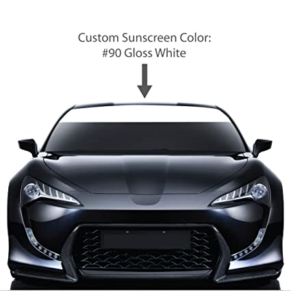 8 x 72 windshield sun visor screen gloss white vinyl stripes