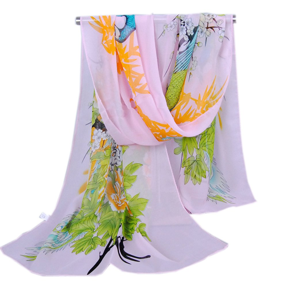 Brand New Pink Peacock Printing Chiffon Scarf, Well Made and Soft Wear, Ship From Us, Fast Delivery