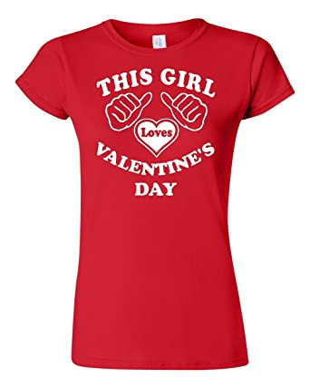 this girl loves valentines day red womens junior t shirt small - Valentines Day T Shirts