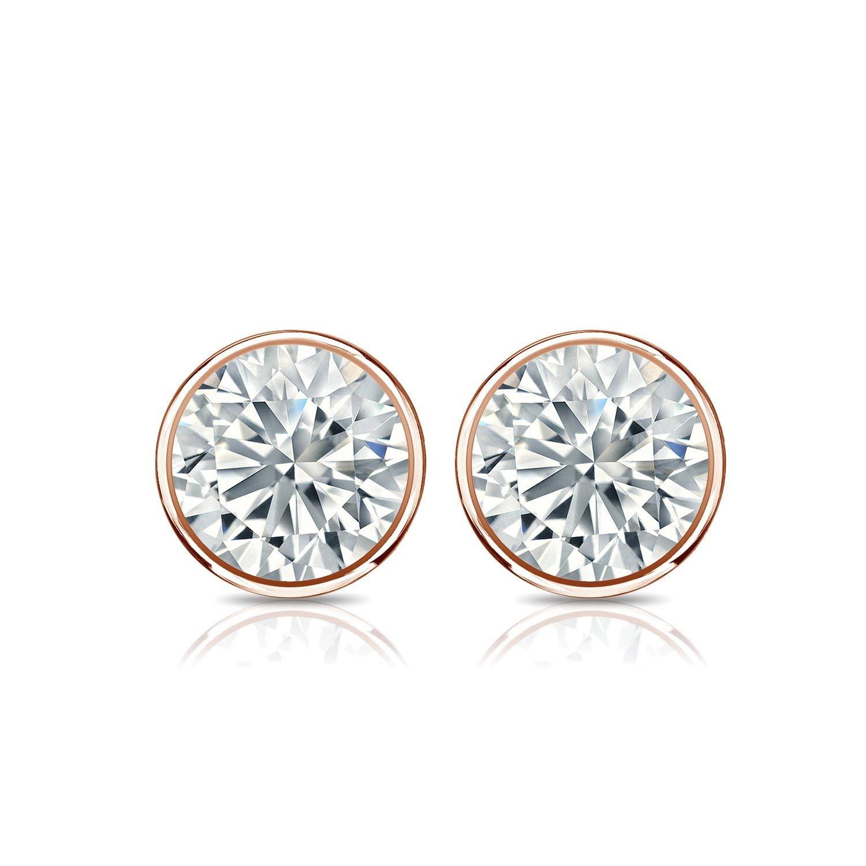 1//5-2 ct, O.White, I2-I3 14k Rose Gold Bezel-set Round Men Diamond Stud Earrings Push-Back