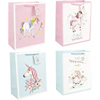 Toyvian 12Pcs Unicorn Gift Bags Paper Bags with Handle for Kids Unicorn Birthday Party Baby Shower Supplies