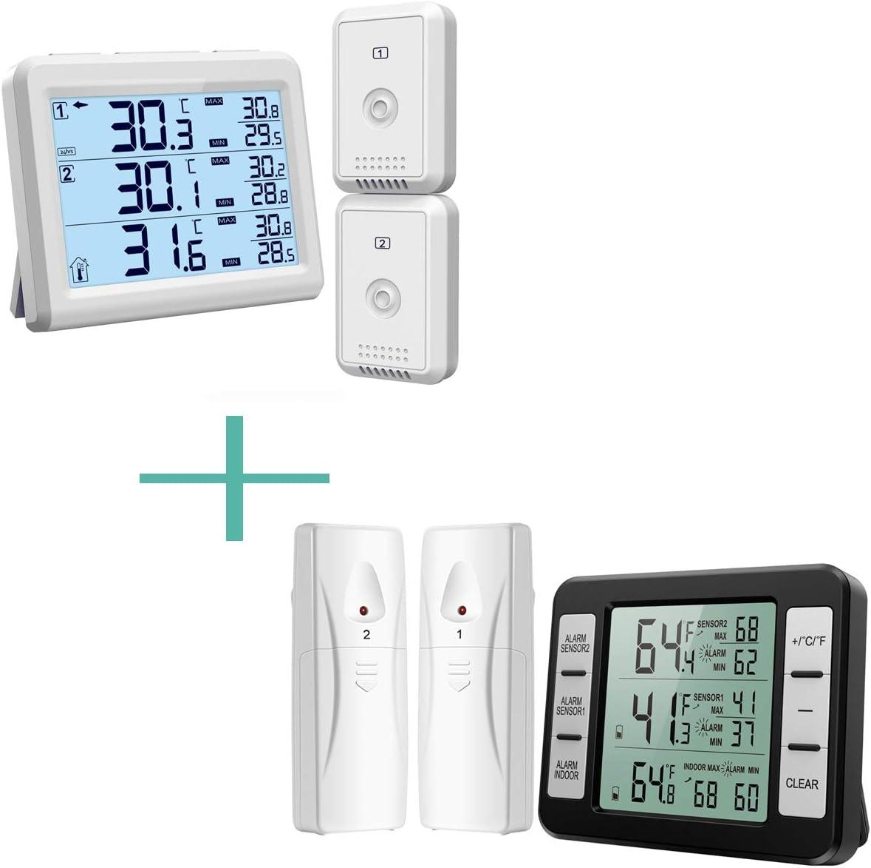 ORIA Refrigerator Thermometer, Wireless Digital Freezer Thermometer with 2 Wireless Sensors