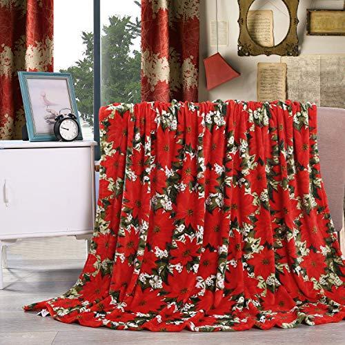 Elegant Comfort Velvet Touch Ultra Plush Poinsettia Printed Fleece Throw Only $4.21