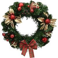 Guirlanda Decorada Natal Vermelha/Dourada/Laço Mabruk