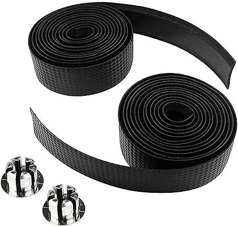 2X Bike Cycling Road Bike Carbon Fiber Handlebar Tape Wrap 2 Bar Plug Black KW