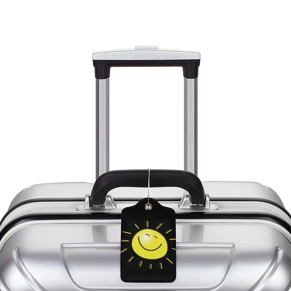 Sunshine Travel Luggage Tags With Full Privacy Cover Leather Case And Stainless Steel Loop