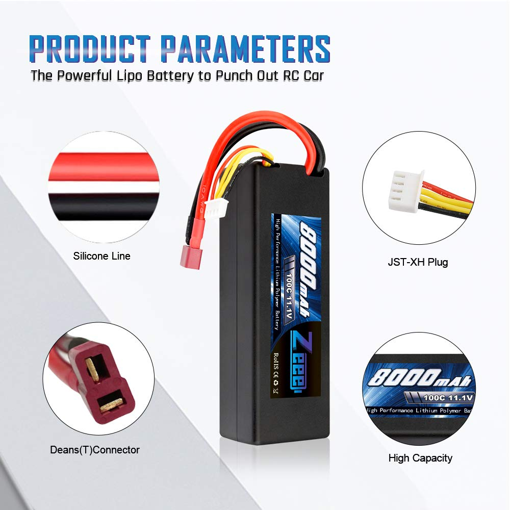 Zeee 8000mAh 11.1V 100C 3S RC Lipo Battery Pack with Deans T Plug for 1/8 1/10 RC Car Model Traxxas Slash Buggy Team Associated by Zeee (Image #2)