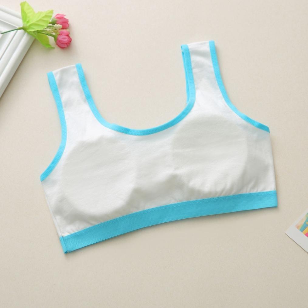 Jamicy 10-14 Years Kid Girls Cotton Cute Cat Printing Underwear Bra Vest Sport Undies