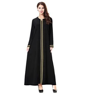 Dreamskull Damen Frauen Muslim Abaya Dubai Muslimische Kleid ...