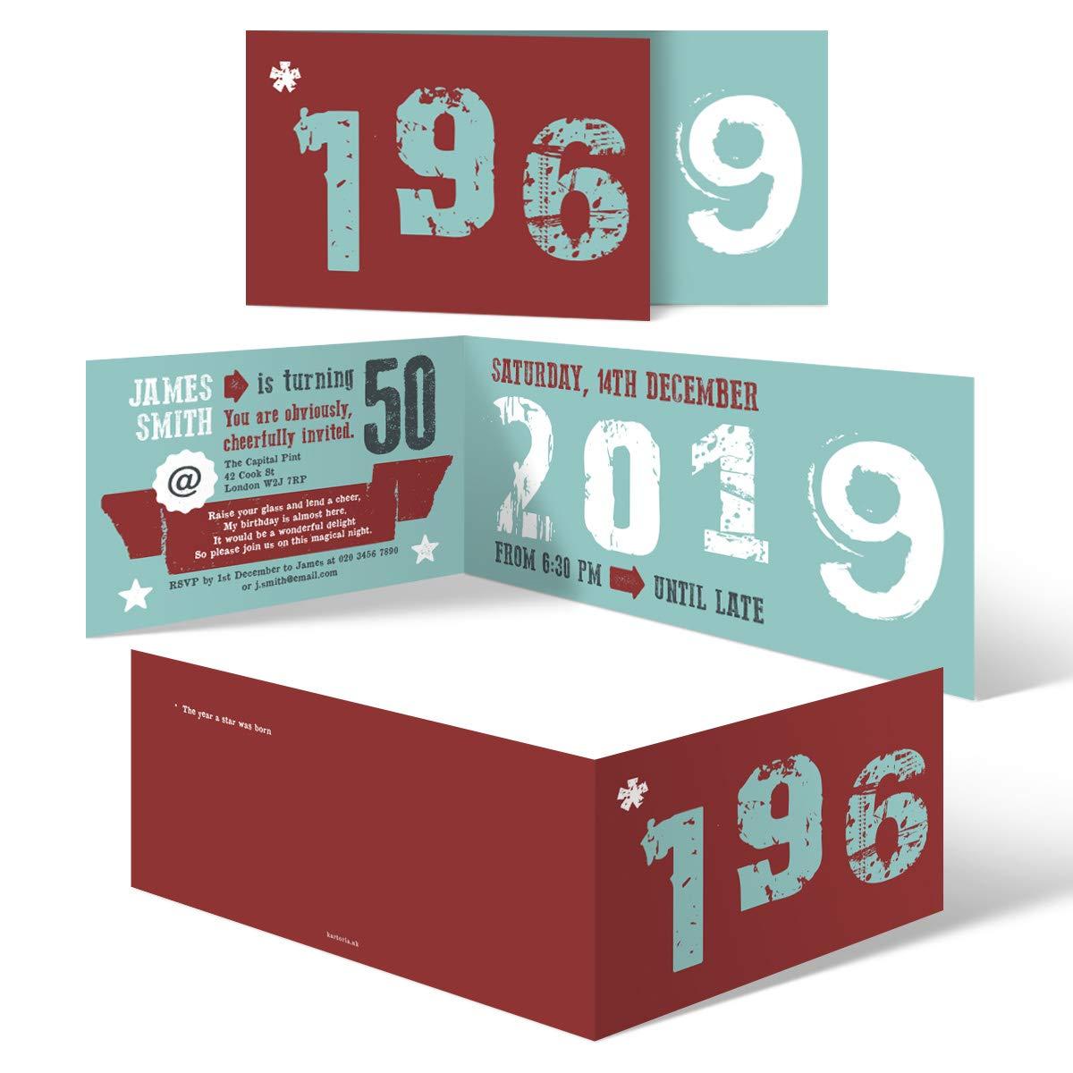50 Years 40 Units 60 x Birthday Invitation Cards Invites Personalised DL Folded  40 Years Retro Birth Year