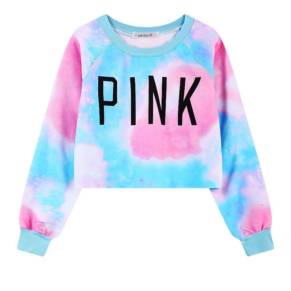 eb01d2d10bba1 Galleon - Girls Teens Womens Sweetshirt Pullover Sweater Crop Tops(Tie Dye  Pink 1)