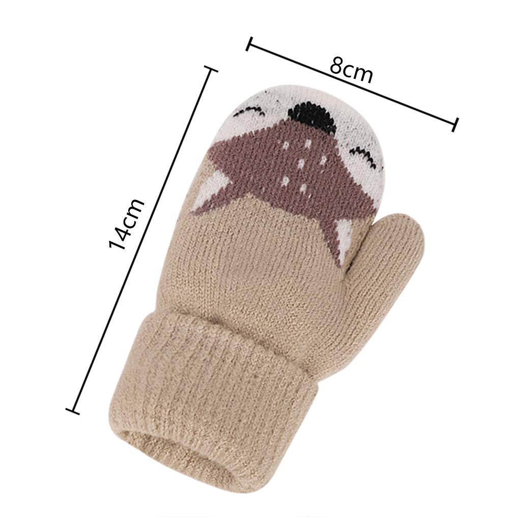 JINTN Guanti invernali con motivo volpe guanti spessi caldi con cinghia anti-perdita ragazzi 1-4 anni in lana lavorata a maglia a doppio strato per bambini