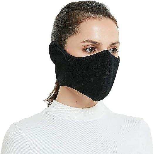 TTzone - Máscara de invierno para hombre y mujer forro polar media cara resistente al viento con orejera para deportes al aire última intervensió