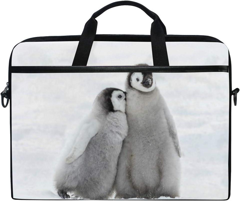 Nander Snow Penguins 15 inch Laptop Case, Laptop Shoulder Bag, Multi-Functional Notebook Sleeve, Carrying Case with Strap for Chromebook MacBook Stream
