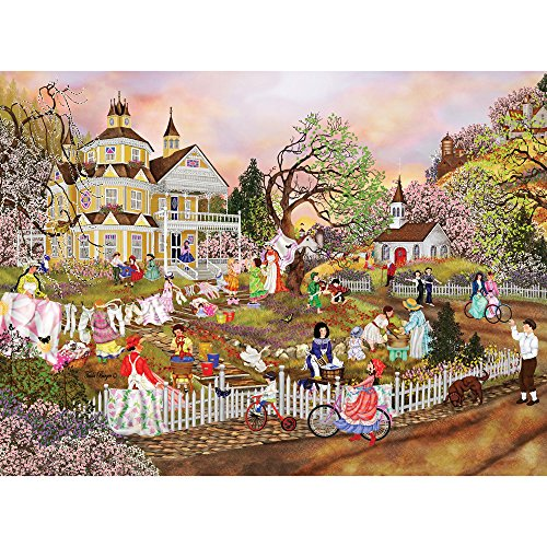 Bits and Pieces - 300 Large Piece Jigsaw Puzzle for Adults - Spring Wash - 300 pc Flowers in Bloom Jigsaw by Artist Tuula Burger