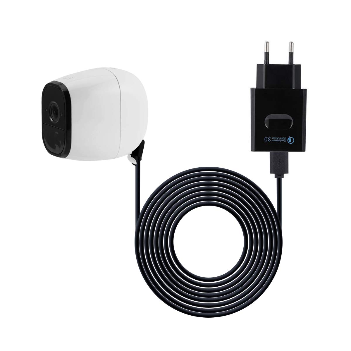Ladekabel fü r Arlo Pro, LANMU Kabel mit USB Netzteil Ladegerä t Adapter fü r Netgear Arlo Pro und Arlo Pro 2 Ü berwachung Kamera (5m) (Weiß ) AieveDirect