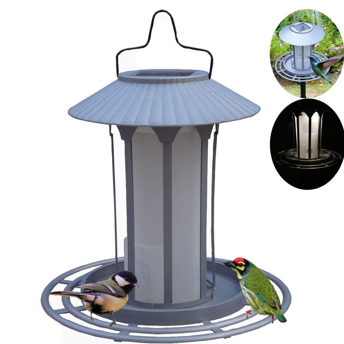 xhope 2 in 1 Bird Feeder,3 led Light Solar Powered Bird Feeder Poles and Hangers Wilderness Lantern for Garden Windows Decration