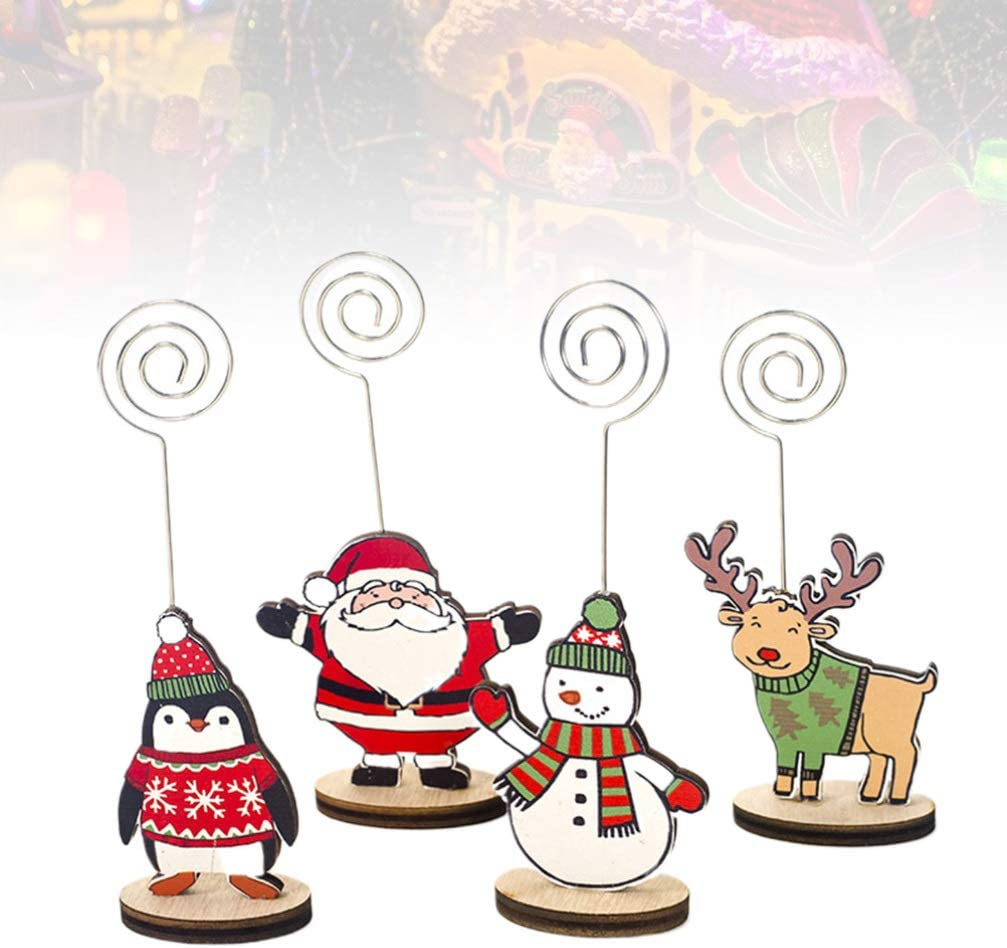 Yardwe 12pcs Place Card Holders Christmas Table Number Holders Table Card Holder Picture Stands Menu Memo Clips for Wedding Christmas Decoration Anniversary Party