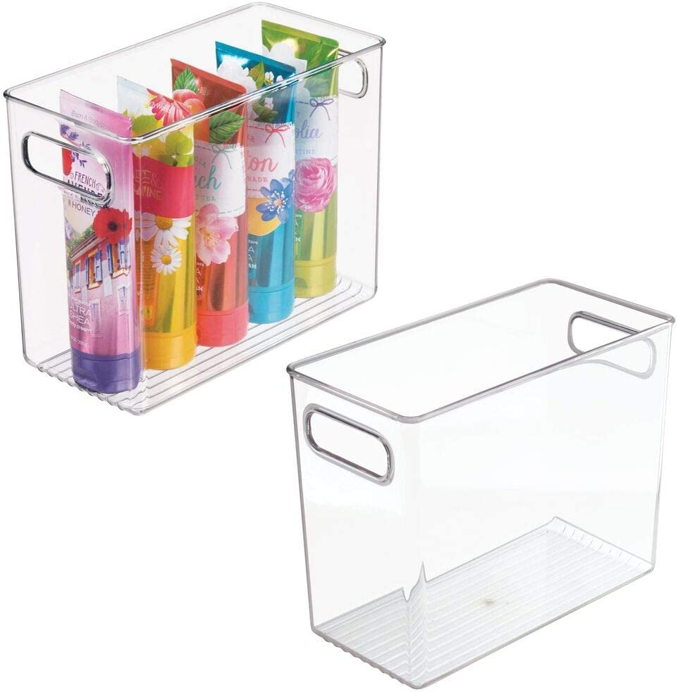 Amazon Com Mdesign Slim Plastic Storage Container Bin With Handles Bathroom Cabinet Organizer For Toiletries Makeup Shampoo Conditioner Face Scrubbers Loofahs Bath Salts 5 Wide 2 Pack Clear Home Kitchen