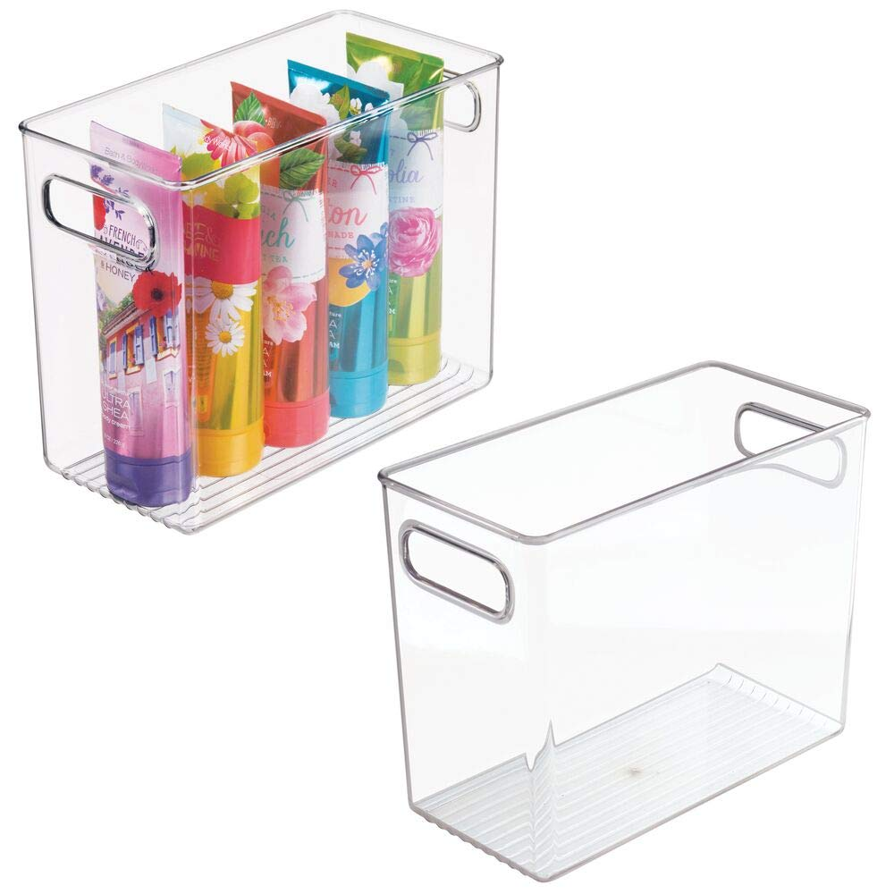 """mDesign Slim Plastic Storage Container Bin with Handles - Bathroom Cabinet Organizer for Toiletries, Makeup, Shampoo, Conditioner, Face Scrubbers, Loofahs, Bath Salts - 5"""" Wide, 2 Pack - Clear"""