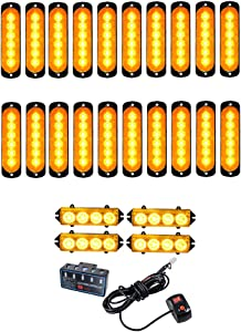 20PCS Ultra Slim 6-LED 18W Emergency Hazard Caution Surface Mount Strobe Light & 4pcs 4-LED Car Truck Grille Deck Dash Flashing Light Control Box- Amber