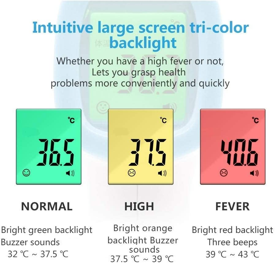 Non-contact Digital Medical Infrared Forehead Thermometer Accurate Temperature Meter with LED Back Light For Adults and Kids