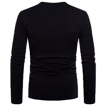 Hombre blusa manga larga Otoño,Sonnena ❤ Blusa casual ajustada de la personalidad de los hombres de moda Camisa sólida de manga larga Blusa superior: ...