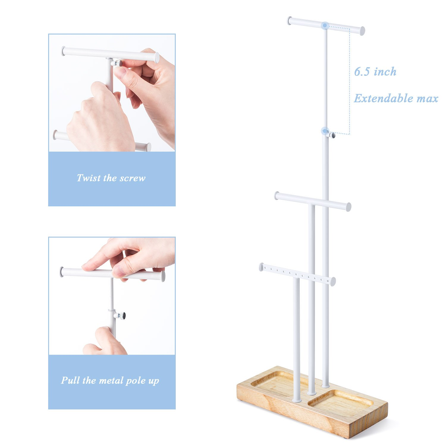 Love-KANKEI Jewelry Tree Stand White Metal & Wood Basic - Adjustable Height with Large Storage for Necklaces Bracelets Earrings Natural Wood by Love-KANKEI (Image #3)