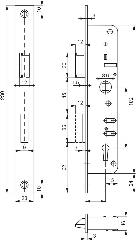 ROTO 246818 Schmalkasten-Schloss 851 35 mm Dornma/ß tosisch ohne Wechsel