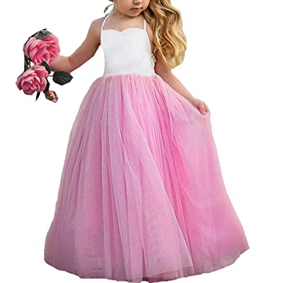MyCHIC Baby Girls Kids Princess Birthday Party Pageant Wedding Spring Summer Tulle Halter Dress Pink