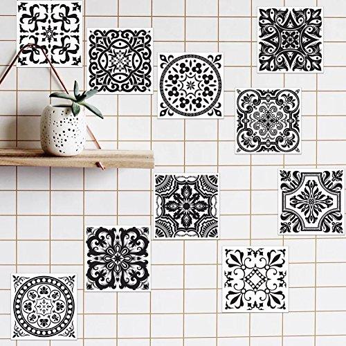 Peyan Black and White Tiles Stickers European Style Home Mandara Wall Stickers Kitchen Wallpaper Decorative Tiles (8x8 inch,Set of 20)
