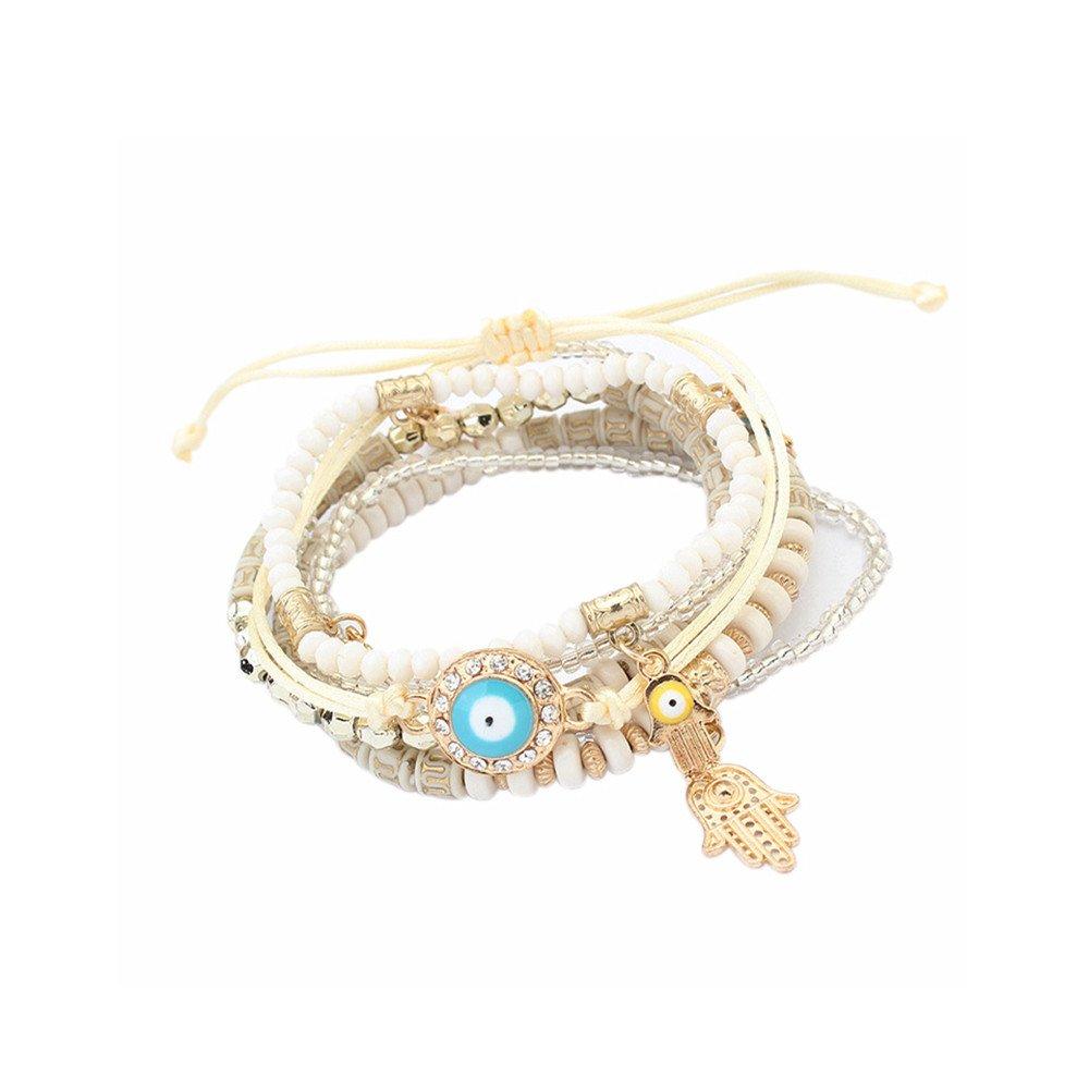 Lureme Bohemian Beads Multi Strand Hamsa Hand Evil Eye Charms Stretch Bracelet Set-White (bl003164-3)