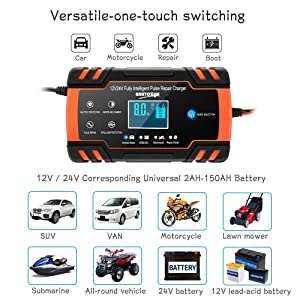 Enhanced Edition Car Battery Charger 12V/8A 24V/4A Compatible Automotive Smart Portable Battery Charger Maintainer/Pulse Repair Charger Pack Jump Starter for Car, Motorcycle, Lawn Mower and More (Color: 12V/24V)