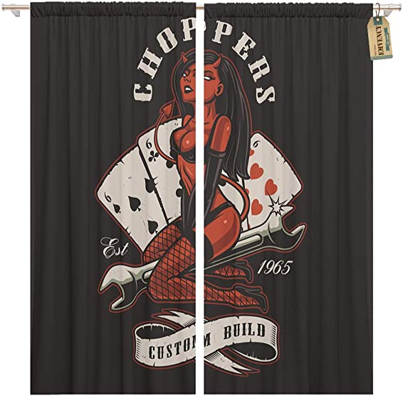 Golee Window Curtain Rockabilly Girl Devil on Wrench Tattoo Text is Separate Home Decor Pocket Drapes 2 Panels Curtain 104 x 96 inches