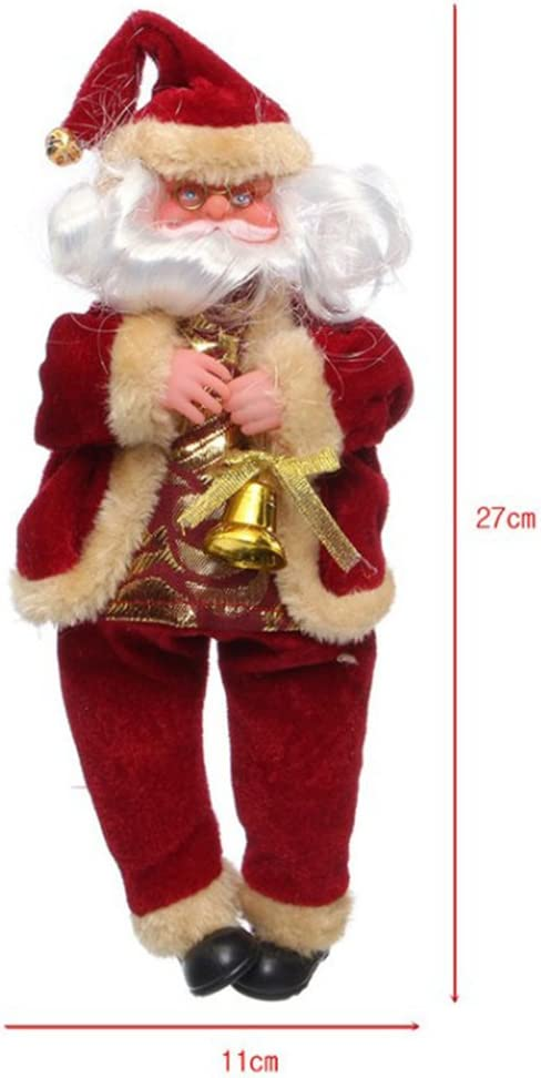 Red OULII Santa Claus Toy Doll Christmas Figure Figurine Decoration Sitting Santa Claus