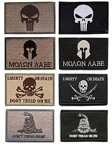 Military Tactical Patches, Antrix 8 Pack Great Value Punisher Molon Labe Liberty Or Death Dont Tread On Me Fully Embroidered Morale Tags Patches