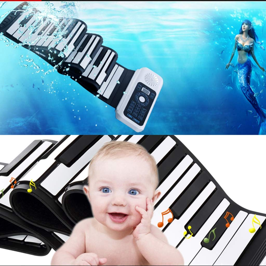New Roll Up Piano Electronic Digital Piano 88-Key Thickened Folding Silicone Hand Roll Keyboard with LED Display Showing Multifunction, White by Anyer Piano (Image #2)