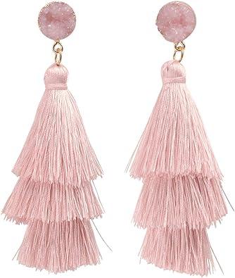 Tassel Earrings Drop Dangle Bohemian Colorful Layered Tiered Thread Fringe Stud Earrings