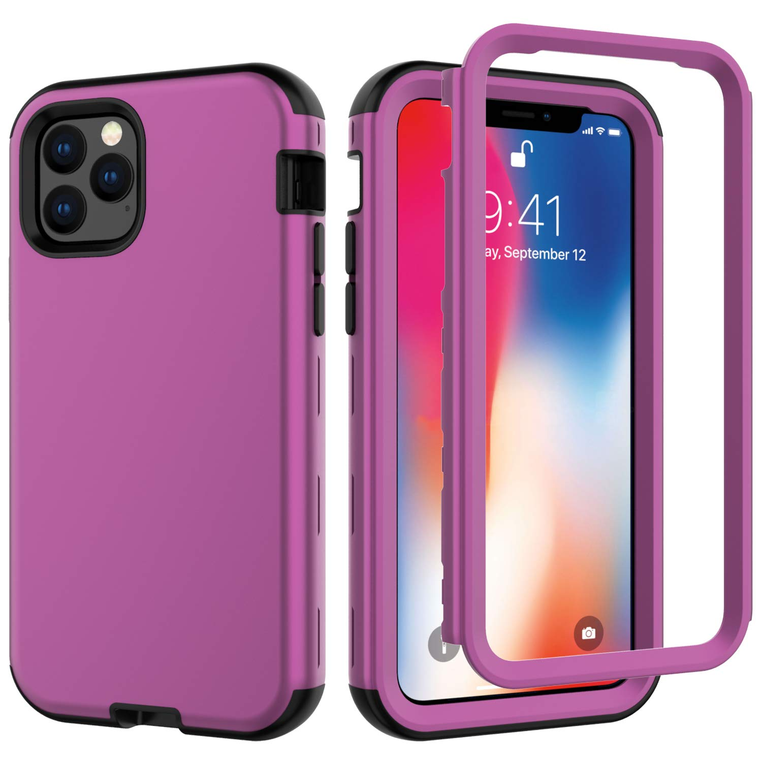 iPhone 11 Pro Max 2019 6.5 Case, Ranyi Rugged Full Body Protection 3 in 1 Hybrid Bumper Shock Absorbing High Impact Heavy Duty Resilient TPU Rubber Case for 2019 6.5 Inch iPhone 11 Pro Max (D Purple) by Ranyi