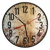 """SofiClock Vintage Wall Wood Clock With Roman Numerals 12"""" Best Gift for Decor Home, Office, Kitchen (Type M)"""