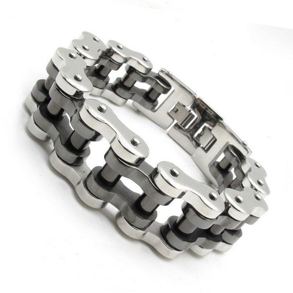 GUUVOR Bicycle Bracelet Bike Titanium Chain Men's Heavy Silver Gold Stainless Steel Motorcycle Biker Link 9.5'' (silver & black)