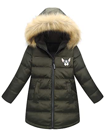 51cbfc1be508f Echinodon Mädchen Winterjacke mit Fellkapuze Kinder Lange Daunenjacke Winter  Outdoor Jacke Parka Mantel Armeegrün 140