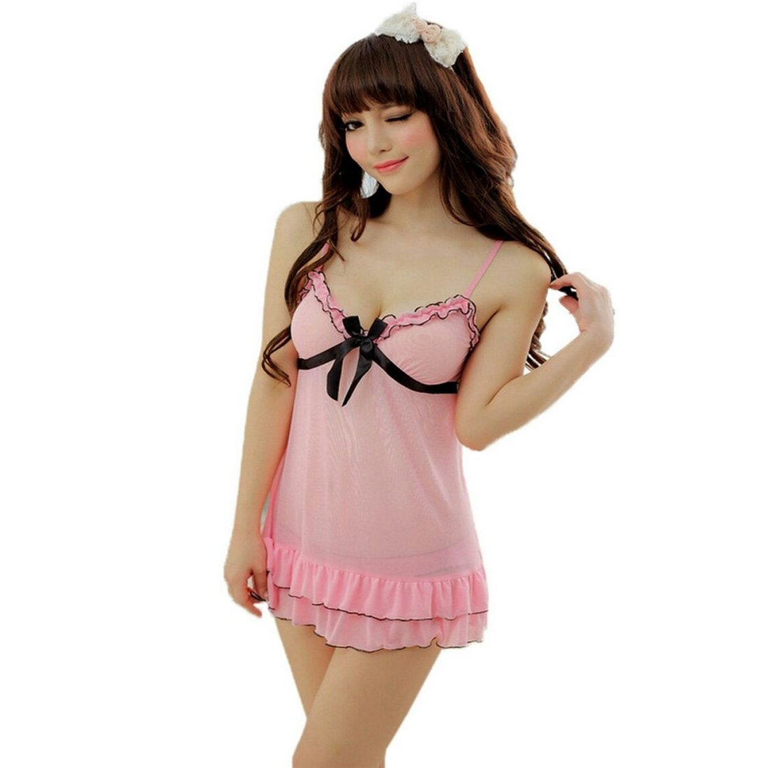 Buy Waooo Baby Doll Lingerie Night Dresses Lacy Robe Set Teddy