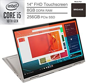 "2020 Lenovo Yoga C740 2-in-1 14"" FHD Touchscreen Laptop Computer, 10th Gen Intel Quad-Core i5-10210U up to 4.2GHz (Beats i7-7500U), 8GB DDR4 RAM, 256GB PCIe SSD, Mica, Windows 10, BROAGE Mouse Pad"